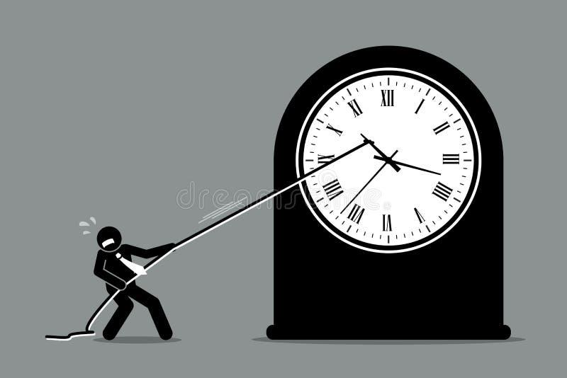 Homme d'affaires essayant d'arrêter l'horloge du déplacement illustration libre de droits