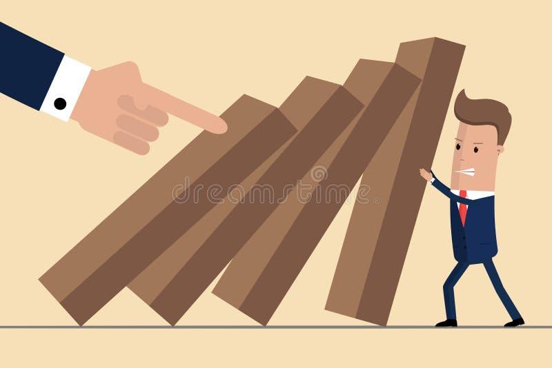 Homme d'affaires essayant d'arrêter le domino en baisse Gestion des crises d'affaires et concept de solution Concept de risque Il illustration de vecteur
