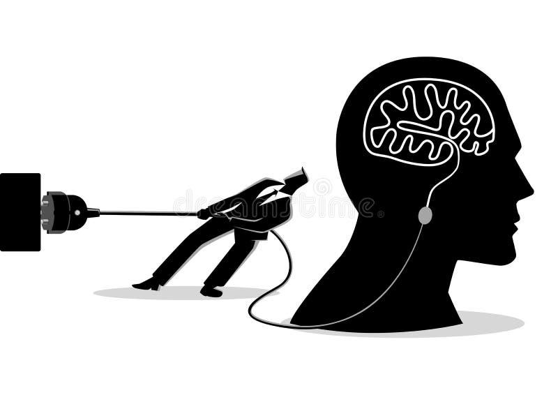 Homme d'affaires essayant de débrancher le cerveau illustration de vecteur