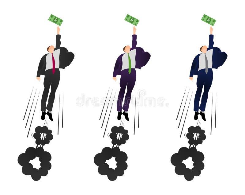 Illustration de l'homme d'affaires plat de vecteur essayant d'obtenir un dollar ?tant motiv? par l'argent Gain de beaucoup plus d illustration stock