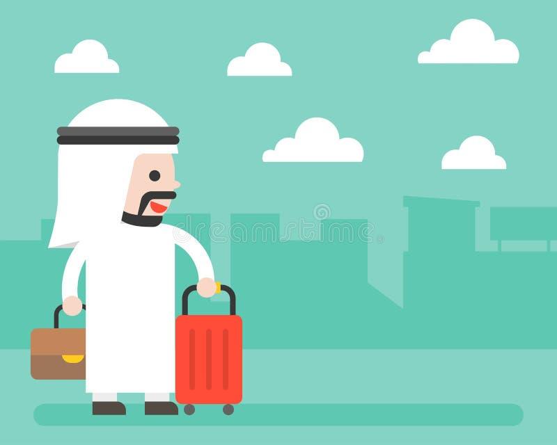 Homme d'affaires et bagage arabes sur le fond de ville, pour la bannière ou le p illustration libre de droits