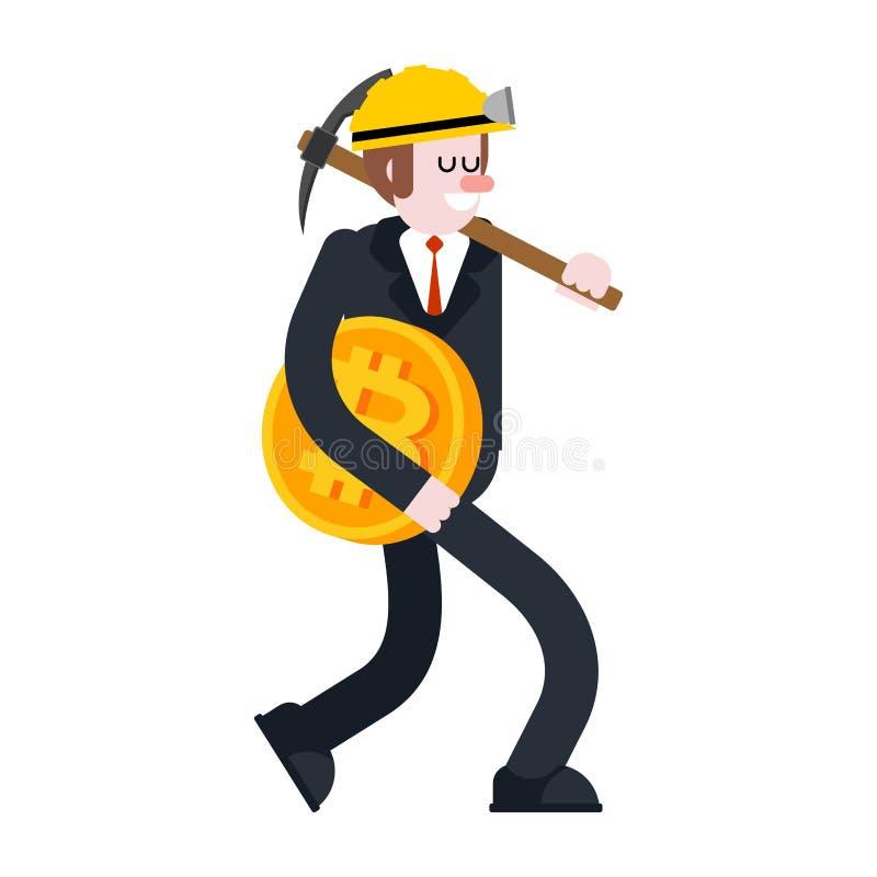Homme d'affaires et bitcoin Mineur et sélection Le type porte le crypto cabot illustration stock