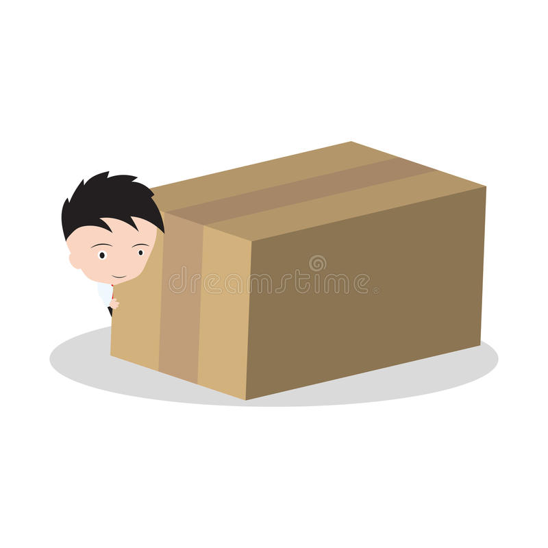 Homme d'affaires et boîte, marchandises, livraison de cadeau pour embarquer et concept du service 24hrs d'isolement sur le fond b illustration stock