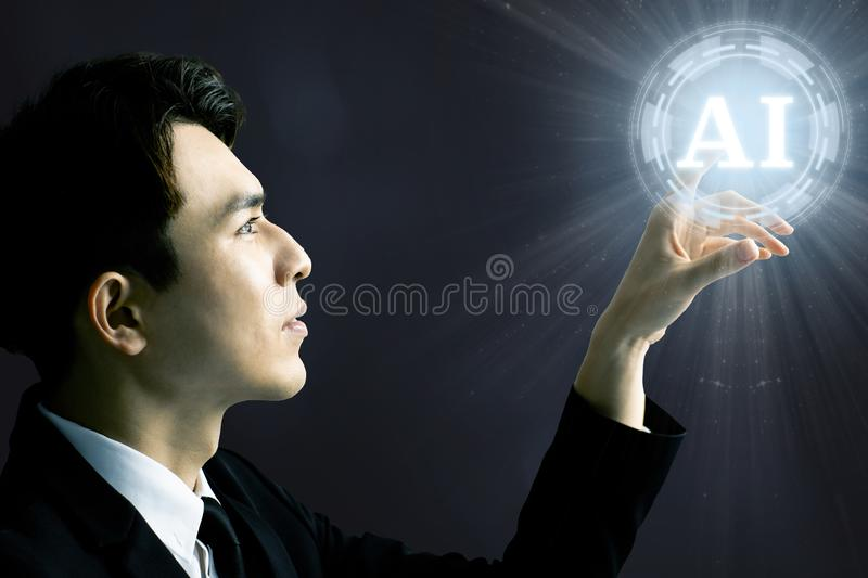 Homme d'affaires et concept d'intelligence artificielle d'AI photo stock