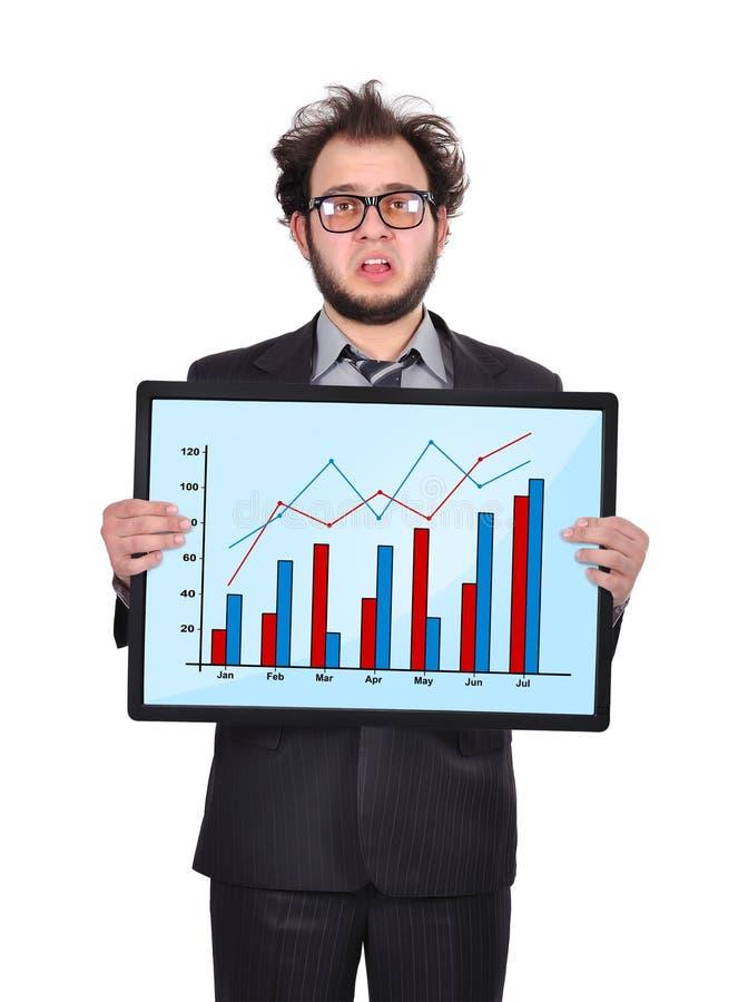 Homme d'affaires et diagramme tristes image stock