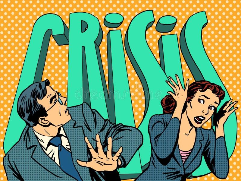 Homme d'affaires et femme d'affaires dans la panique du illustration de vecteur