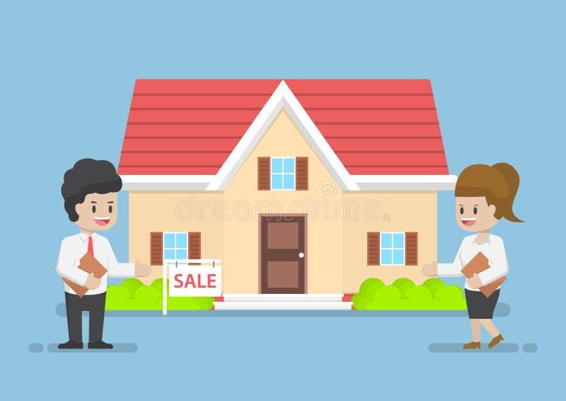 Homme d'affaires et femme d'affaires Presenting House à vendre illustration de vecteur