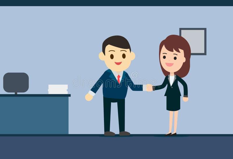 Homme d'affaires et femme d'affaires se serrant la main dans le lieu de réunion illustration libre de droits