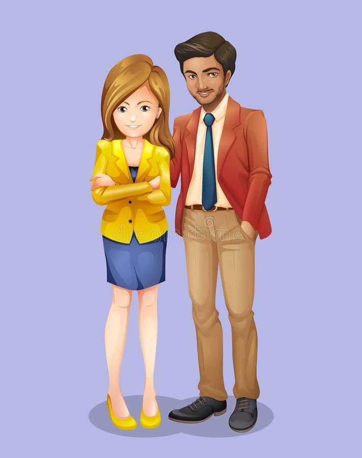 Homme d'affaires et femme dans la robe formelle illustration libre de droits