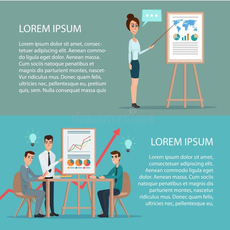 Homme d'affaires et femme faisant une présentation devant un conseil illustration stock