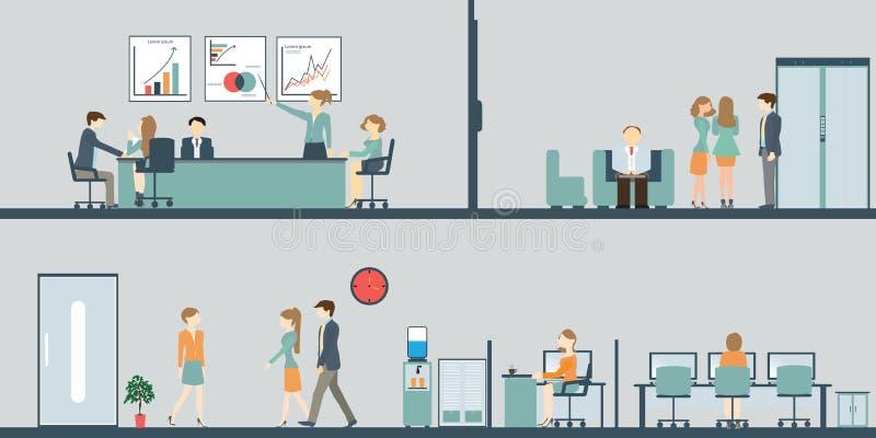 Homme d'affaires et femme, parlant, discutant dans le lieu de réunion dedans dedans illustration stock