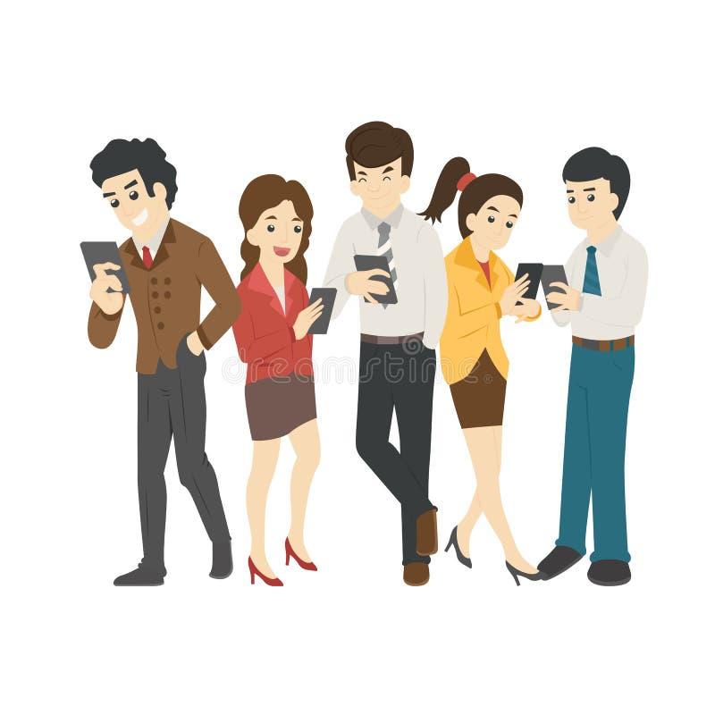Homme d'affaires et femme regardant leurs téléphones, dépendance sociale illustration stock