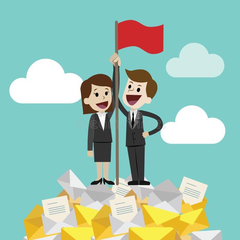 Homme d'affaires et femme d'affaires se tenant sur une pile énorme de tour de messages ou d'emails et remettant l'alerte Le trava illustration stock