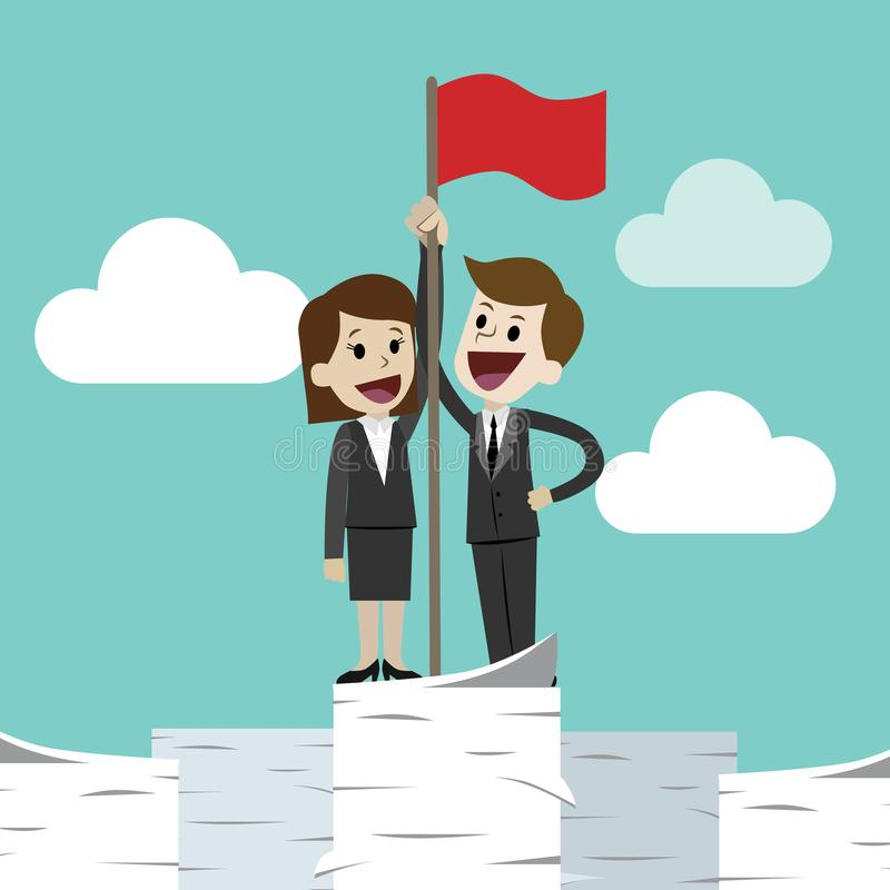 Homme d'affaires et femme d'affaires se tenant sur une pile énorme de tour de papiers et remettant l'alerte Le travail est réussi illustration de vecteur