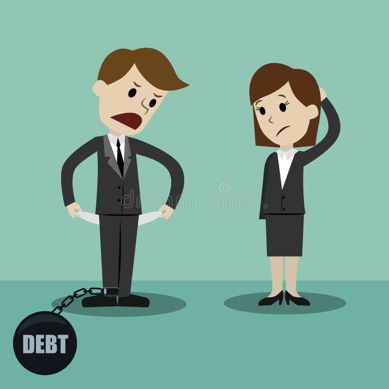 Homme d'affaires et femme d'affaires tenant et montrant sa poche vide, tournant sa poche à l'envers, aucun argent Faillite illustration libre de droits