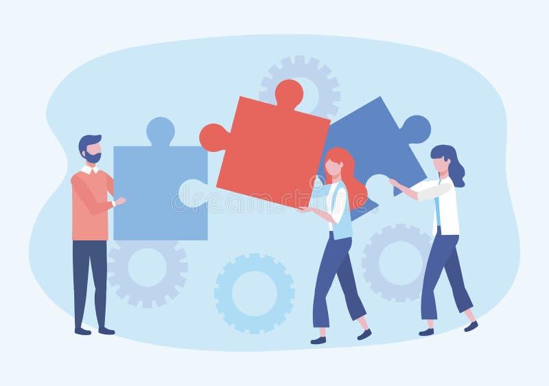 Homme d'affaires et femmes d'affaires avec les puzzles et la connexion de vitesses illustration libre de droits