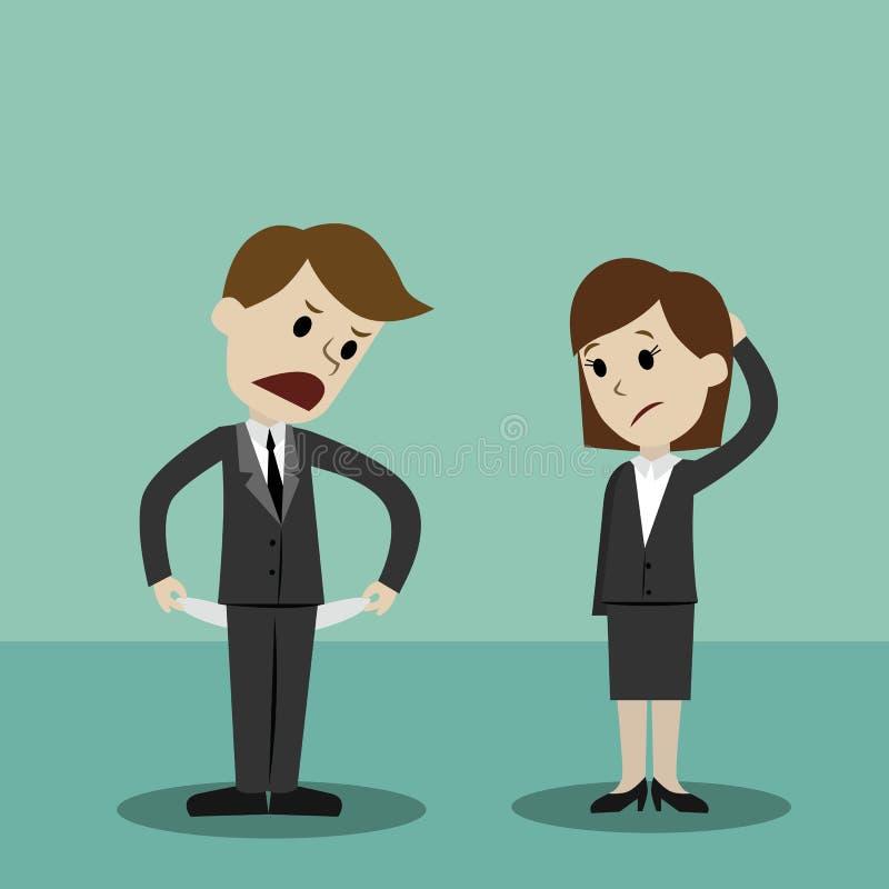 Homme d'affaires et femmes d'affaires tenant et montrant sa poche vide, tournant sa poche à l'envers, aucun argent illustration de vecteur