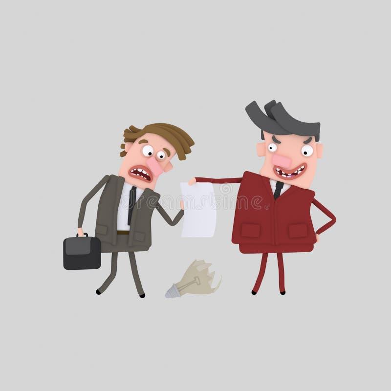 Homme d'affaires et x22 ; firing& x22 ; un autre 3d illustration libre de droits
