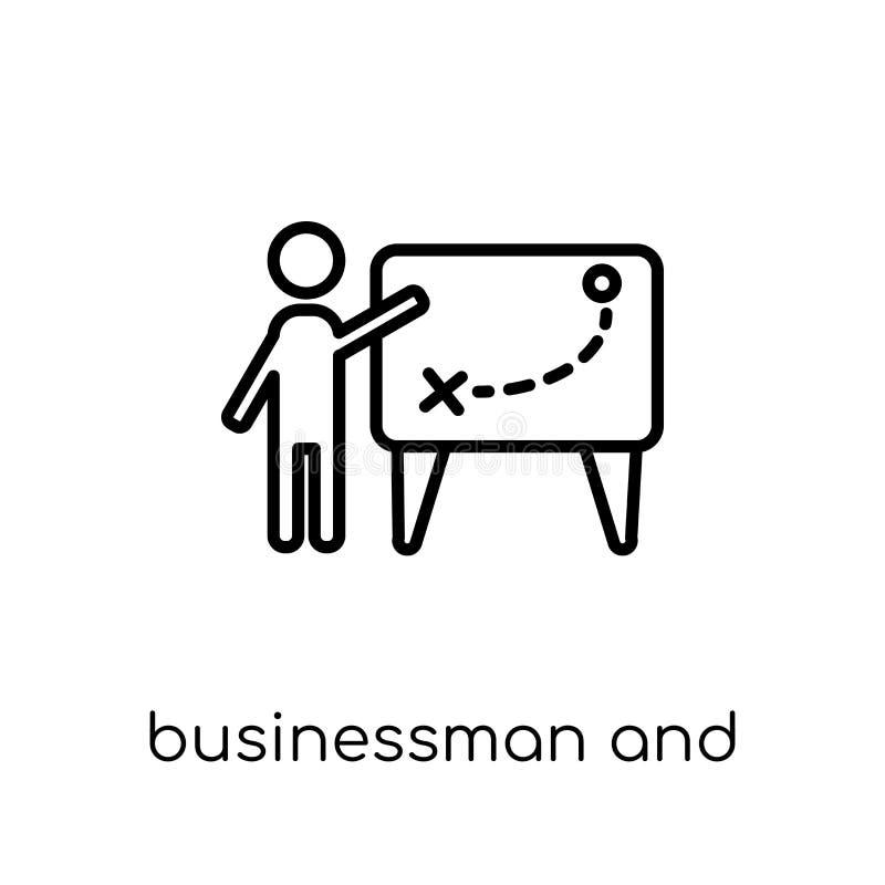 Homme d'affaires et icône de la tactique de collection de productivité illustration de vecteur
