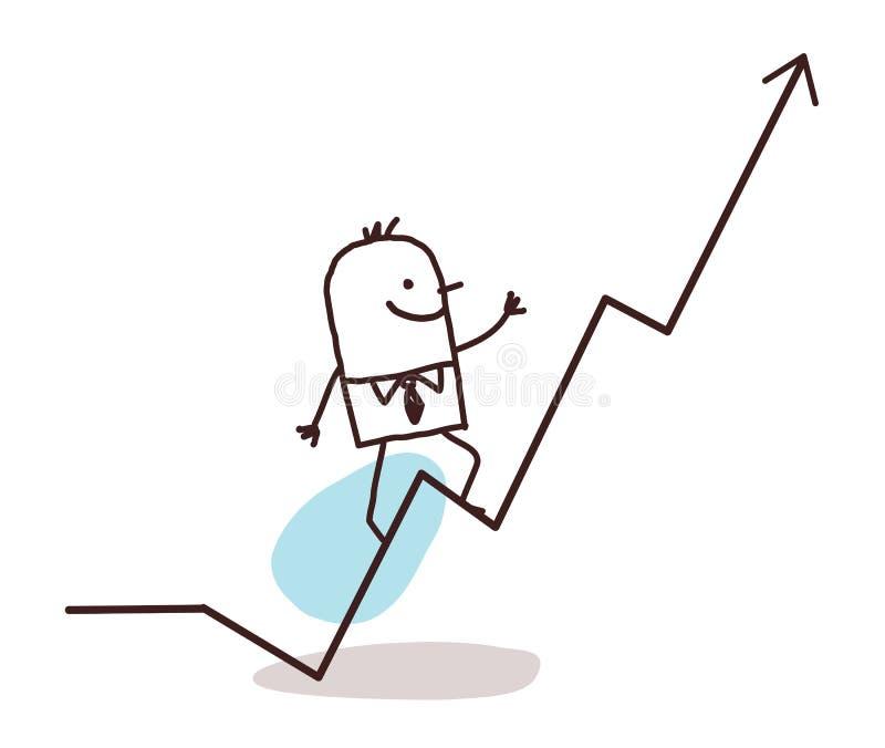 Homme d'affaires et ligne illustration stock