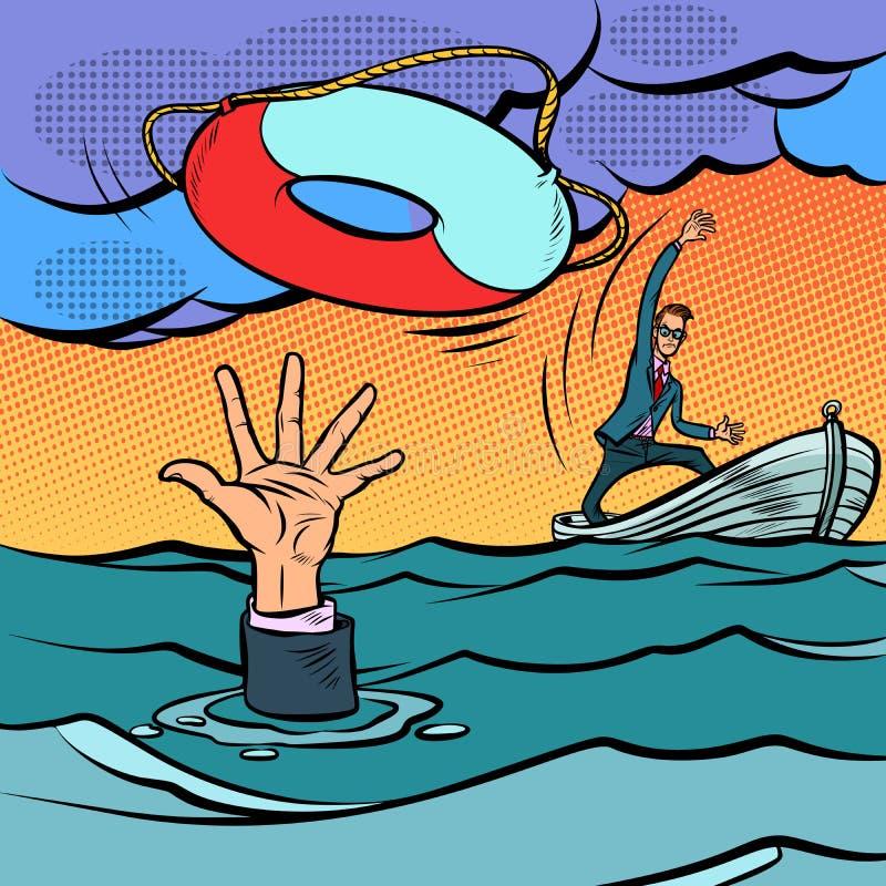 Homme d'affaires et ligne de sauvetage sauvegarde des affaires Lifebuoy rouge avec l'être humain d'isolement sur le fond blanc illustration de vecteur