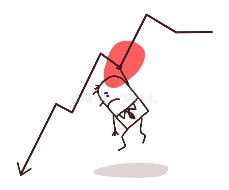 Homme d'affaires et ligne vers le bas illustration de vecteur