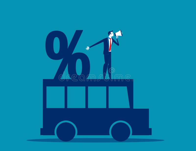 Homme d'affaires et pourcentage sur la voiture Illustration de vecteur d'affaires de concept, bande dessinée plate d'affaires, st illustration libre de droits