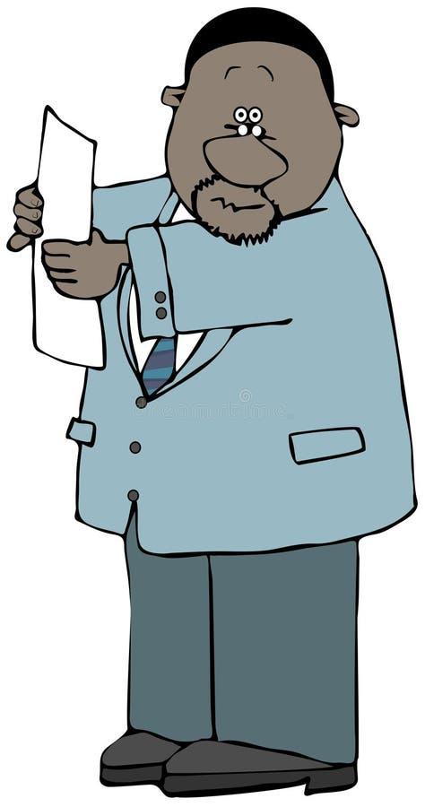 Homme d'affaires ethnique supportant un morceau de papier illustration de vecteur