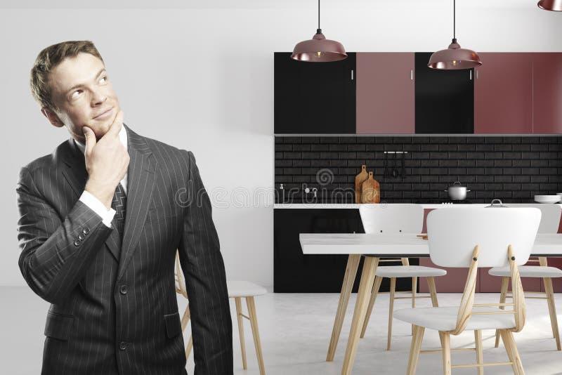Homme d'affaires européen dans l'intérieur de cuisine illustration stock