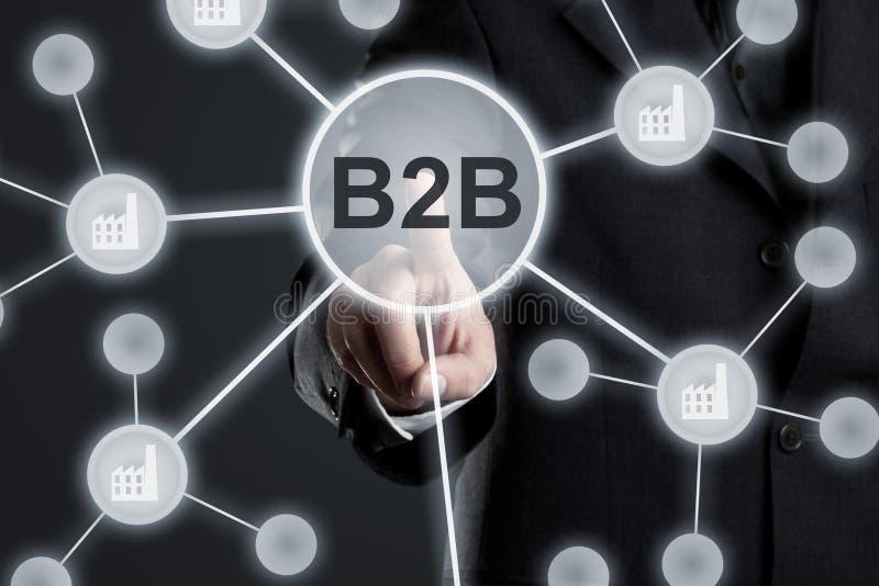 Homme d'affaires exécutif dans le costume touchant le bouton de B2B dans le réseau avec des icônes d'usine sur l'écran tactile vi illustration libre de droits