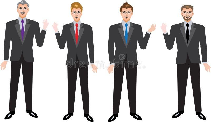 Homme d'affaires exécutif Set, divers homme d'affaires Standing Front View - illustration de vecteur illustration stock