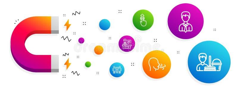 Homme d'affaires, exercice de respiration et ensemble d'icônes d'association Exposants, grand coup et signes de nettoyage de serv illustration libre de droits