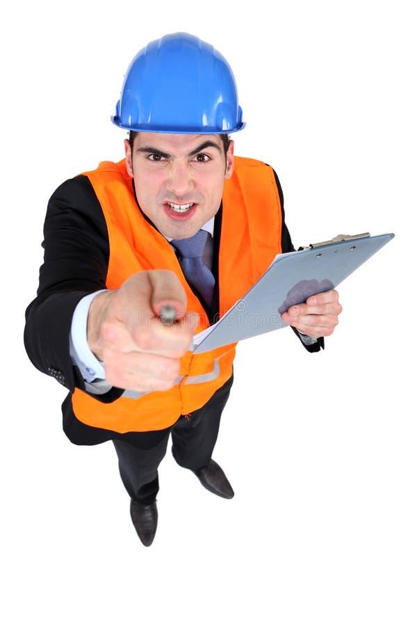 Homme d'affaires fâché de construction images libres de droits