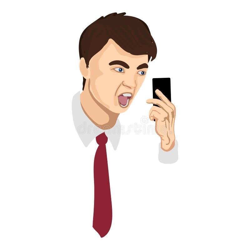Homme d'affaires fâché hurlant dans le téléphone illustration libre de droits