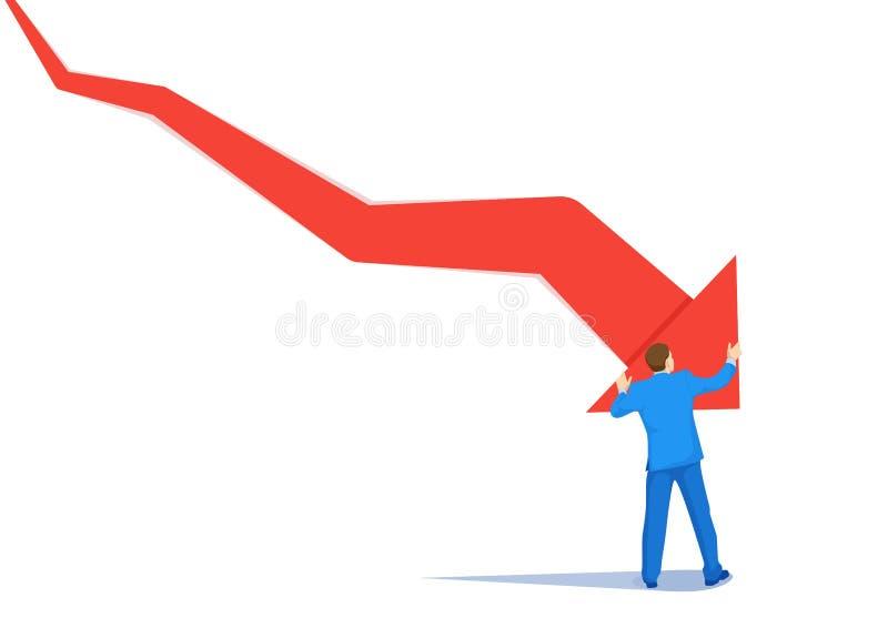 Homme d'affaires faillite poussé par concept de haut en bas de vecteur de flèche Symbole de la faillite, de l'échec, de la récess illustration libre de droits