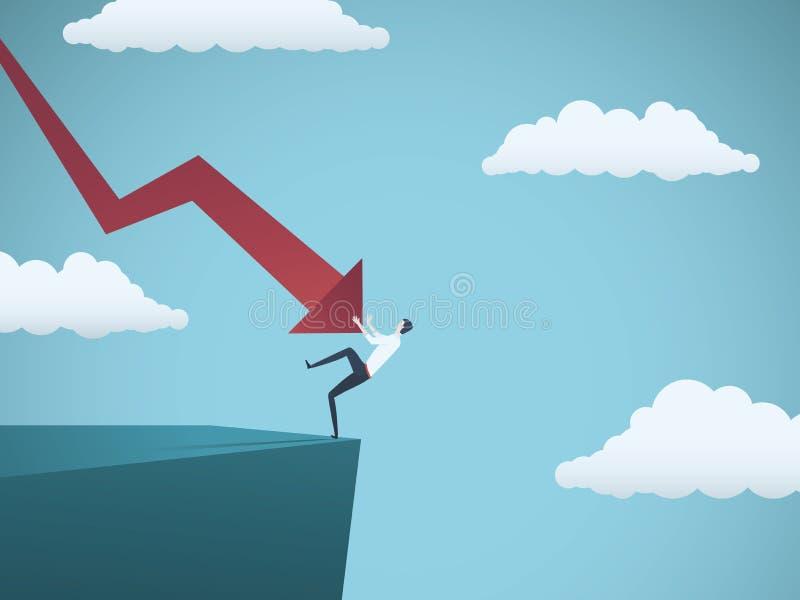 Homme d'affaires faillite tombant une falaise, poussée par la flèche de haut en bas Symbole de la faillite, échec, récession, cri illustration stock