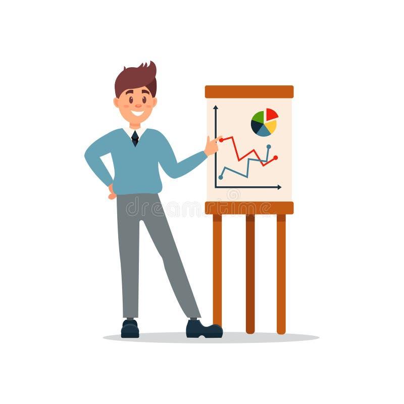 Homme d'affaires faisant la présentation et expliquant le diagramme sur un tableau blanc, caractère d'affaires fonctionnant dans  illustration stock