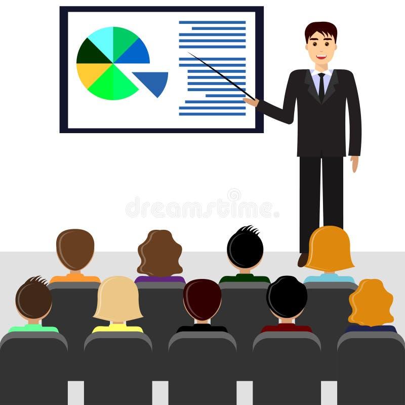 Homme d'affaires faisant la présentation, salle de réunion illustration libre de droits