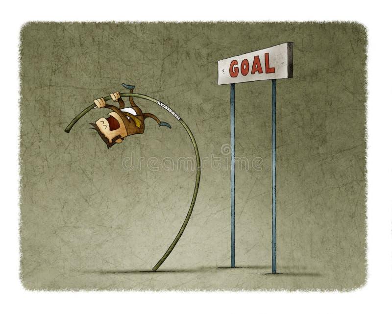 Homme d'affaires faisant le saut à la perche pour sauter le but illustration stock