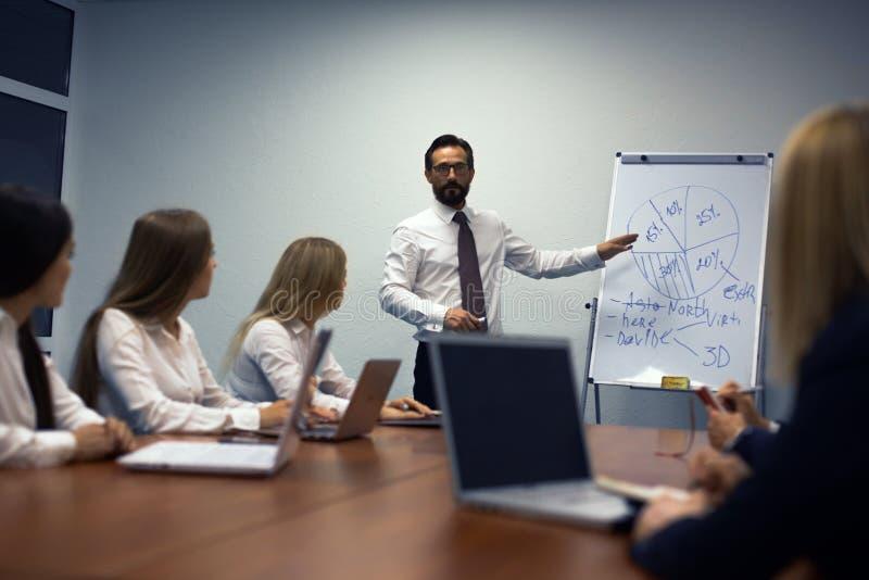 Homme d'affaires faisant une présentation dans le bureau photo libre de droits