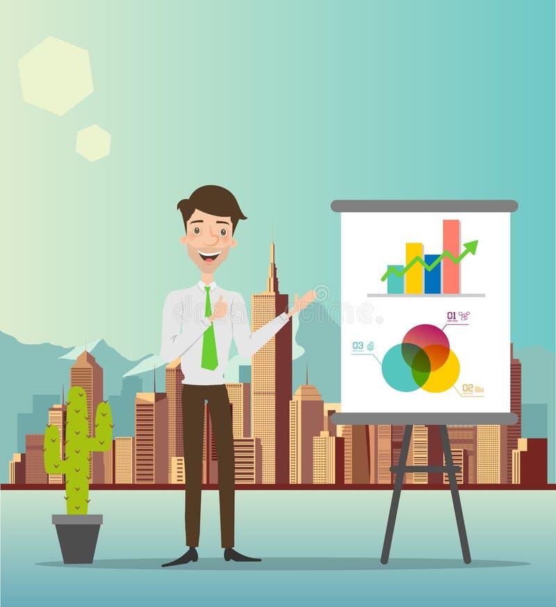 Homme d'affaires faisant une présentation devant un conseil Illustration illustration de vecteur