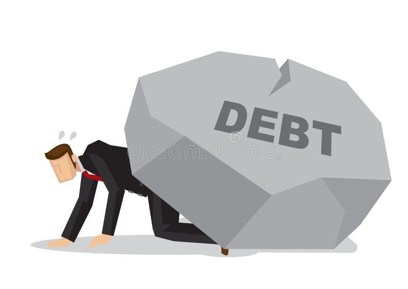 Homme d'affaires fatigué sous une dette géante de titre de roche Busin d'entreprise illustration libre de droits