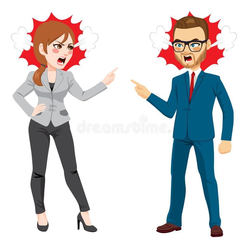 Homme d'affaires Fighting de femme d'affaires illustration stock