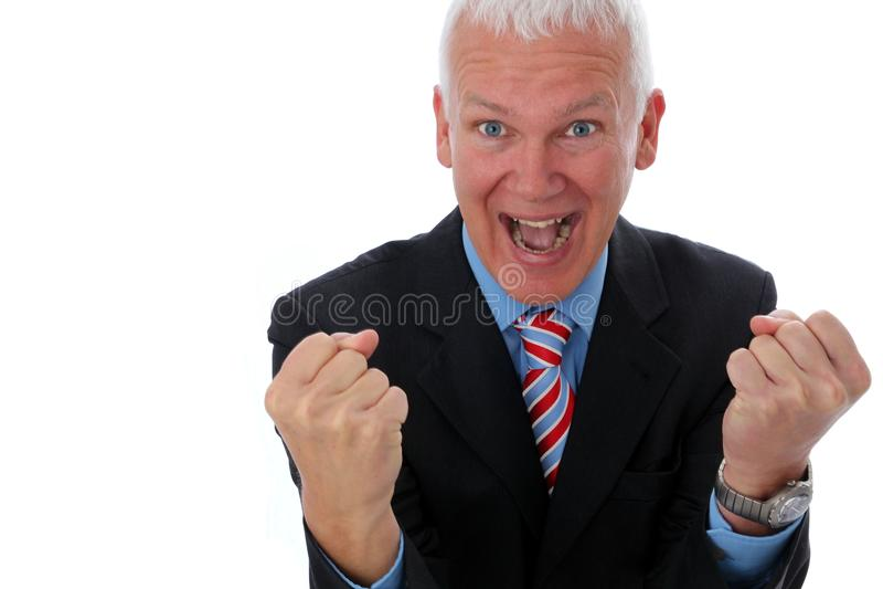 Homme d'affaires fou avec deux poings photographie stock libre de droits