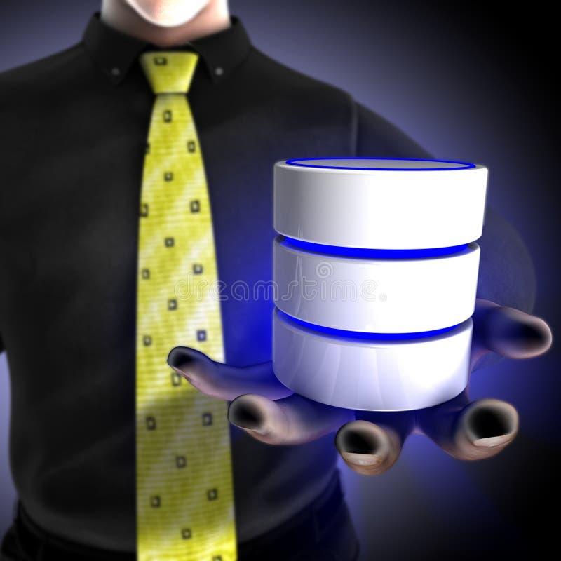 Homme d'affaires fournissant un service de base de données illustration stock
