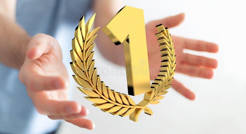 Homme d'affaires gagnant le premier rendu d'or des prix 3D illustration libre de droits