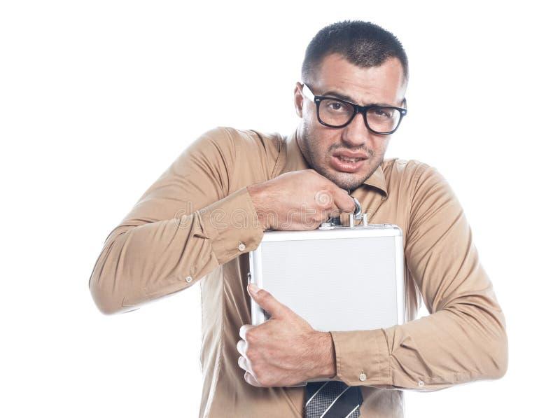 Homme d'affaires gardant le cas protecteur images libres de droits