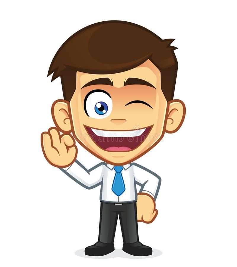 Homme d'affaires Gesturing Ok et cligner de l'oeil illustration stock