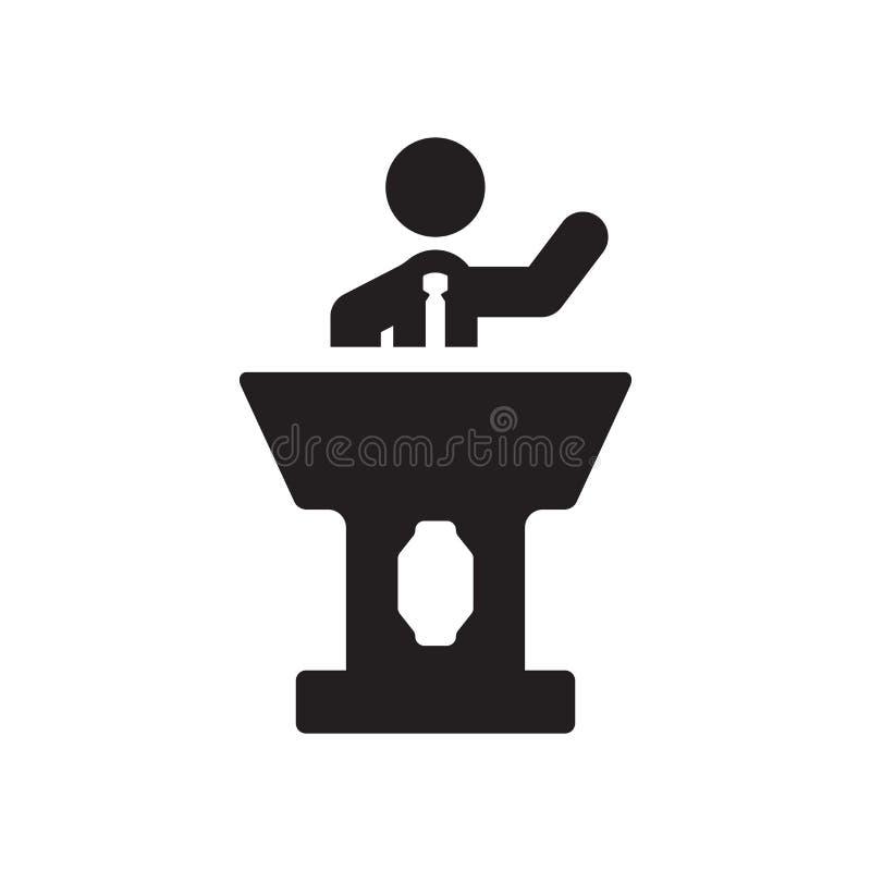 Homme d'affaires Giving une icône de conférence Homme d'affaires à la mode Giving un L illustration de vecteur