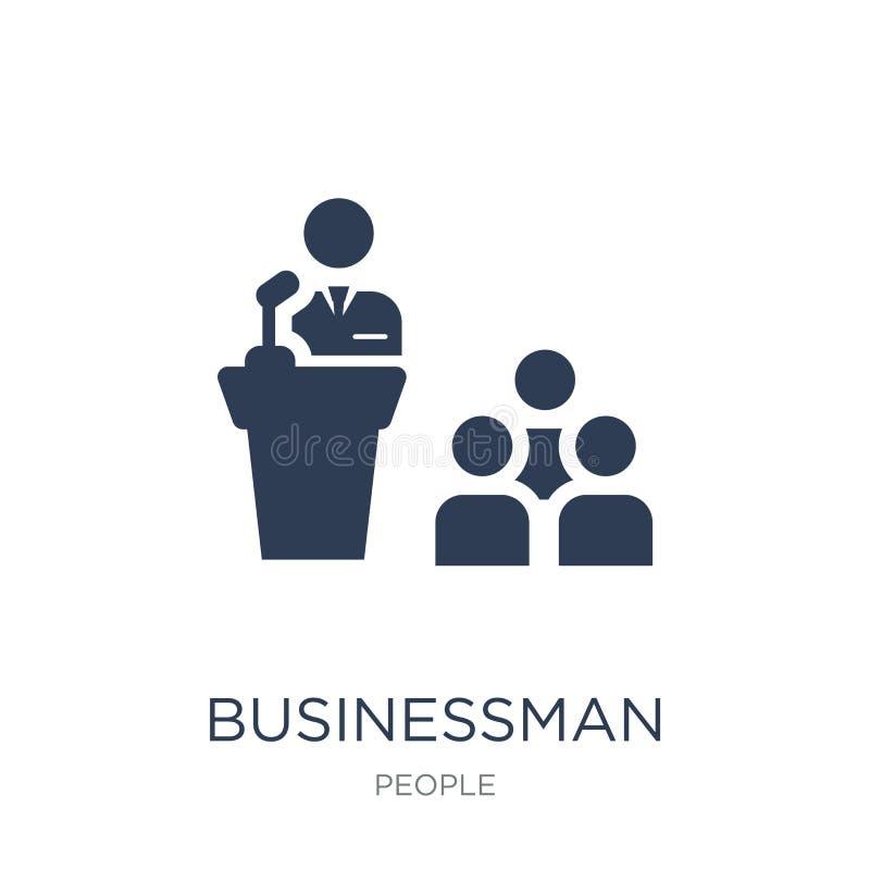 Homme d'affaires Giving une icône de conférence Vecteur plat à la mode Businessma illustration de vecteur